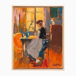 Mujer joven en sol de la mañana, óleo sobre lienzo