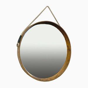 Mid-Century Italian Modern Solid Oak, Brass and Rope Round Mirror, 1960s