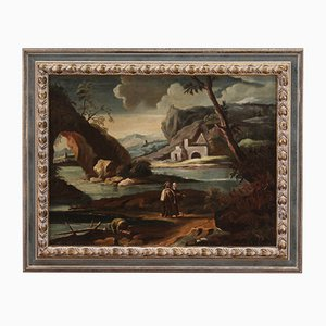 Pintura de paisaje antigua con personajes, siglo XVIII