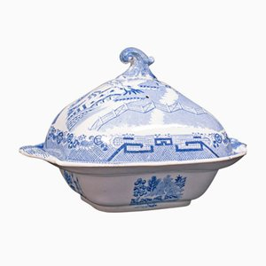 Sopera o sopera inglesa victoriana antigua de cerámica