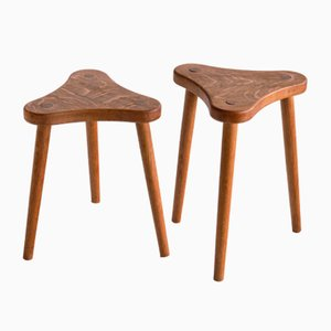 French Three Legged Stools / Side Tables in Solid Oak, 1950s, Set of 2