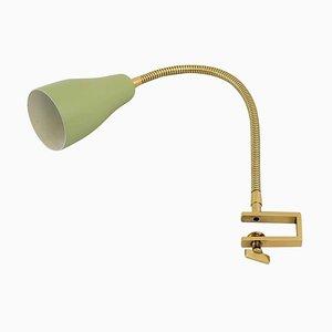 Lampada da tavolo flessibile in ottone verde e oro con paralume, anni '50