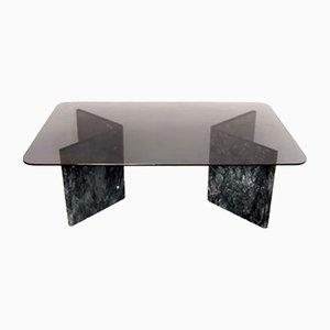 Mesa de centro vintage de mármol de Carrara negro, años 70