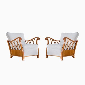 Armchairs in Elm and White Bouclé by Maurizio Tempestini, Italy, 1940s, Set of 2