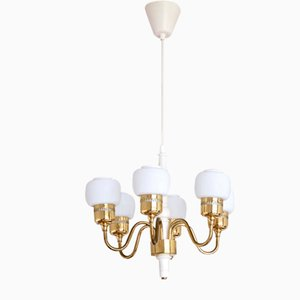 Six Arm T526 Brass and Opal Glass Chandelier by Hans-Agne Jakobsson for AB Markaryd, Sweden, 1960s