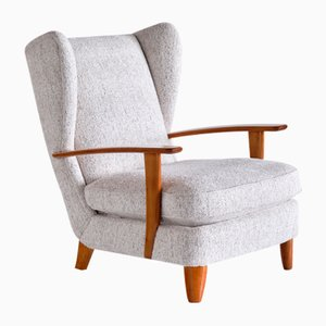 Wingback Chair in Cherry Wood and Mélange Nobilis Fabric by Gio Ponti, Italy, 1929