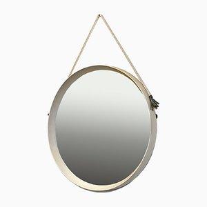 Specchio rotondo Mid-Century moderno in teak bianco, corda e pelle, Italia, anni '60