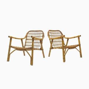 Italienische Armlehnstühle aus Bambus & Rattan, 1950er, 2er Set