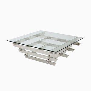 Mesa de centro vintage con tablero de vidrio cromado de David Hicks