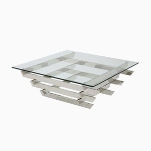 Vintage Stacked Chrome Glass Top Coffee Table by David Hicks