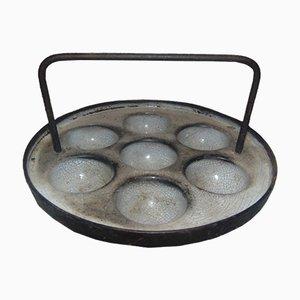 Antike industrielle Eierpfanne aus Gusseisen