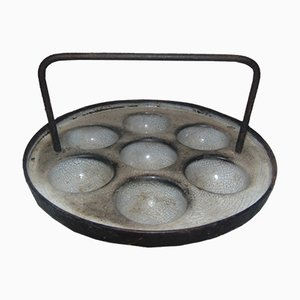 Antique Industrial Cast Iron Pre-War Egg Pan