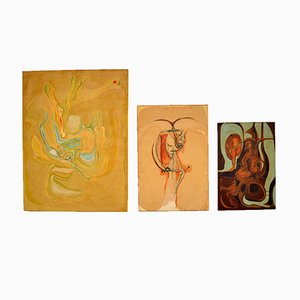 Abstract Oil Paintings, 1960s, Set of 3