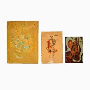 Abstrakte Ölgemälde, 1960er, 3er Set
