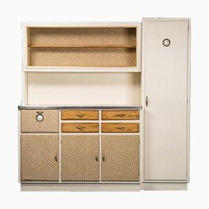 Mobiles Vintage Sideboard aus Elfenbeinfarbenem Holz und Baumwolle