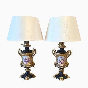 Lámparas Napoleon III de porcelana y bronce. Juego de 2