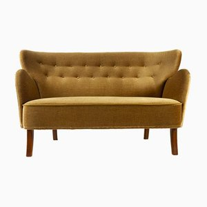 Vintage Danish Velvet Sofa, 1950s