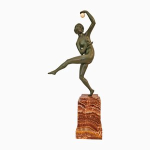 Mauritius Guiraud Riviere, escultura Art Déco de bronce