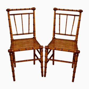 Victorian Faux Bamboo Side Chairs, Set of 2