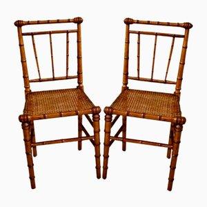 Viktorianische Beistellstühle in Bambus Optik, 2er Set