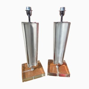 Gray Murano Lamps from Toso, Set of 2