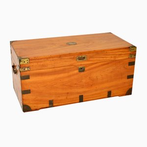 Antique English Camphor Wood Military Campaign Trunk