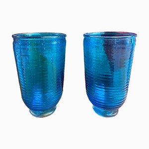 Jarrones de cristal de Murano azul de Alberto Dona, años 80. Juego de 2