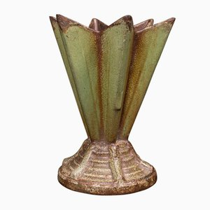 Macetero inglés Art Déco de hierro fundido, años 30