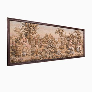 Antique French Edwardian 5' Panoramic Tapestry Display Panel in Needlepoint, 1910s