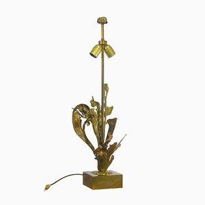 Lámpara de mesa de bronce dorado con follaje, 1970