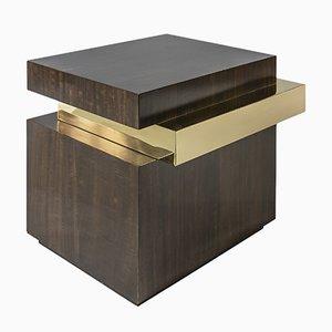Mobiletto Mid-Century in ottone lucidato e impiallacciato in legno