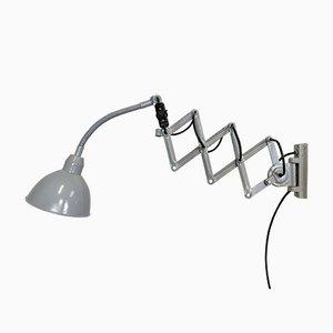 Lámpara de pared tijera industrial gris de Elektroinstala, años 60