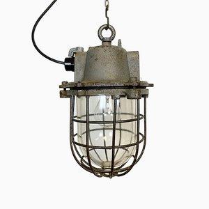 Lámpara colgante industrial vintage de hierro fundido, años 60