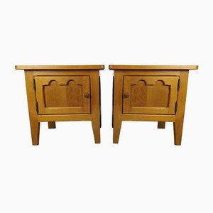 Vintage Oak Nightstands, Set of 2