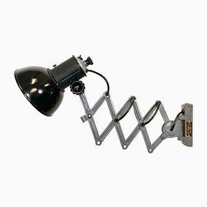 Lámpara de pared Scissor industrial vintage esmaltada en negro, años 50
