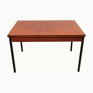 Mesa de comedor extensible de teca con patas de metal, años 60