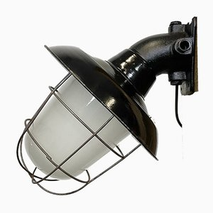 Industrial Black Enamel and Cast Iron Wall Lamp with Iron Grid, 1960s
