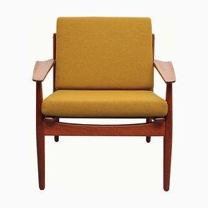 Mustard Yellow & Teak Armchair by Arne Forestre for Glostrup, 1960s