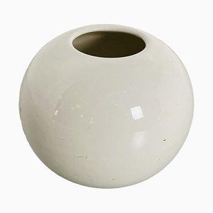 Jarrón esférico italiano Mid-Century pequeño de cerámica blanca, años 70