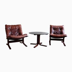 Butacas Siesta y mesa auxiliar de vidrio de Ingmar Relling para Westnofa. Juego de 3