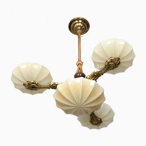 Lámpara de araña estilo Art Déco de latón, 1930