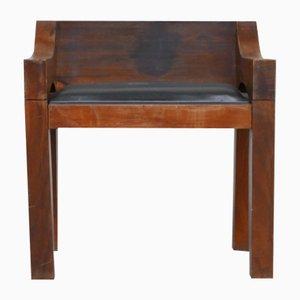 Mid-Century Chunky Holz und Leder Beistellstuhl
