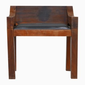 Mid-Century Chunky Wood and Leather Occasional Chair