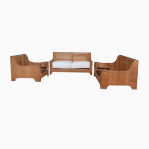 Brutalistisches Mid-Century Sofa & Sessel Set aus Eiche