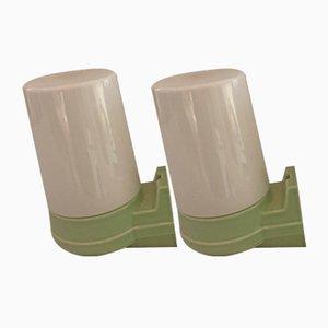 Lámparas de pared modelo 6070 de porcelana verde claro y vidrio opalino de Sigvard Bernadotte para Ifö, años 60. Juego de 2