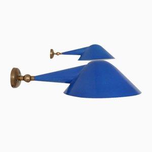Verstellbare italienische Mid-Century Wandlampen aus Messing, 2er Set