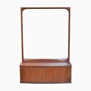 Mid-Century Modern Danish Mahogany Mirror with Tambour Cabinet, 1950s