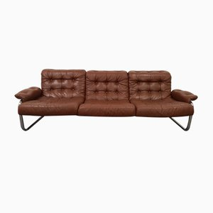 Borkum Sofa aus getuftetem Leder & verchromtem Stahlrohr von Johan Bertil Häggström, 1972