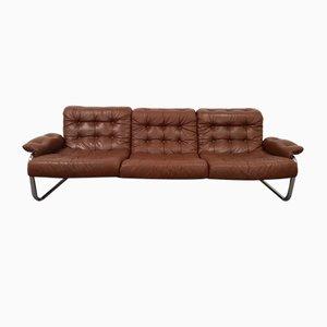 Borkum Tufted Leather & Chrome Tubular Steel Sofa by Johan Bertil Häggström, 1972
