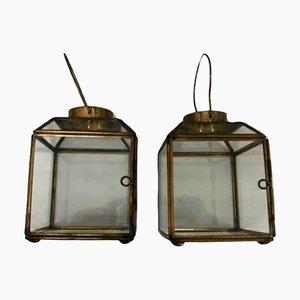 Petites Lanternes de Table en Laiton et Cristal, Set de 2